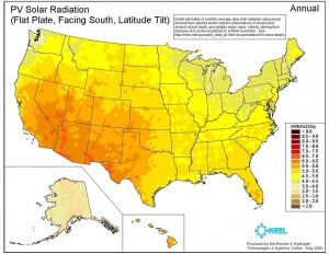 Solar Insolation Map of the US