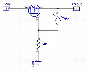 Reverse Polarity Protection Using a P-channel MOSFET